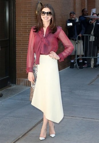 Anne Hathaway half and half dress fashion