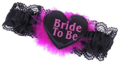 Bridal Shower Fluffy Black Lace Garter Gift