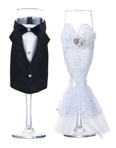 Bridal Shower Gift Wedding Dress Wine Glass Set