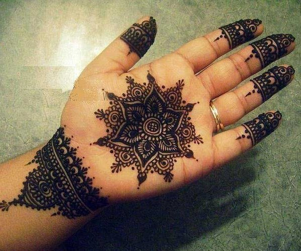 Flower Tikka Mehndi Design For Inner Hands