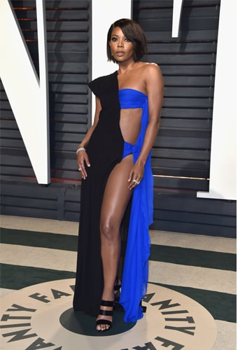 Gabrielle Union half and half dress fashion