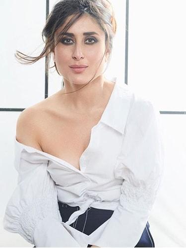 Kareena Kapoor in a white button-down shirt