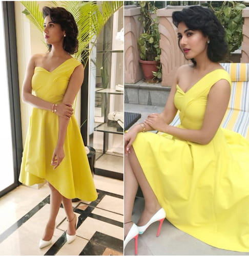 Sonal Chauhan in R V Womenswear Yellow dress