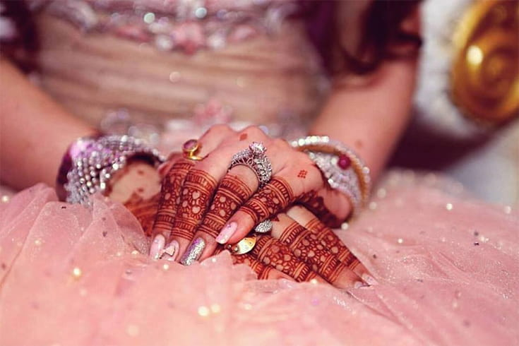 Finger Mehndi for Bride