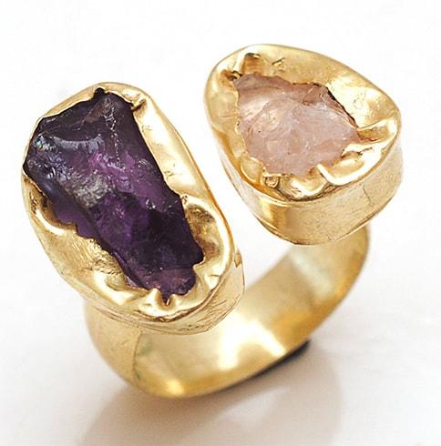 Multicolored 2 Stone Ring