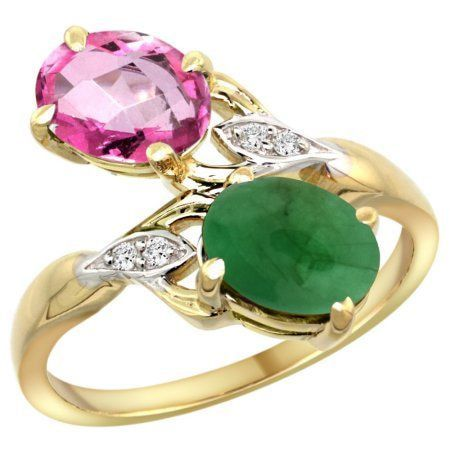 Pink and Green Stone Ring