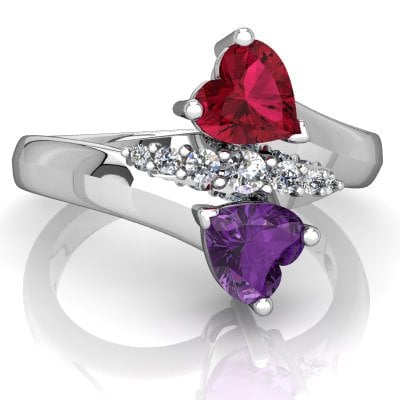 Two Heart Shape Stone Ring