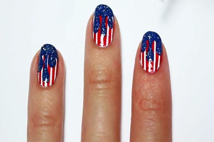 4th Of July Patriotic Nail Art
