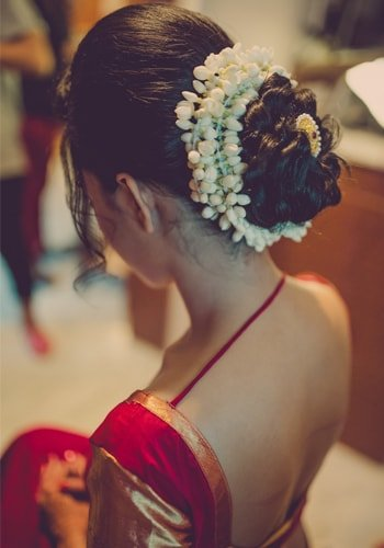 Bridal Hairstyle With Puff In The Middle On Saree