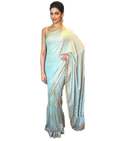 Deepika Padukone Blue Saree Style