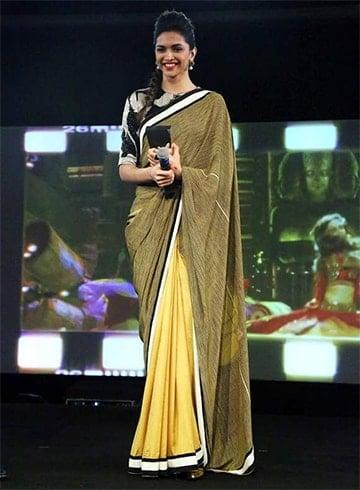 Deepika Padukone Mehendi green saree