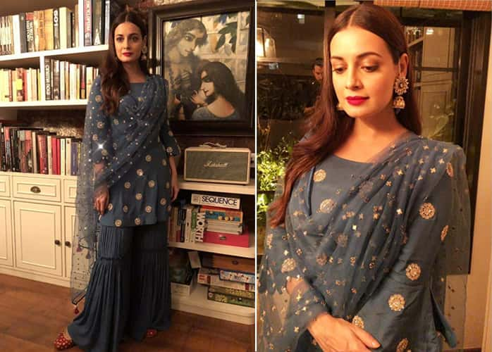 Dia Mirza in stone gray sharara suit