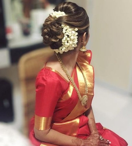 High Puff With Bun Hairstyle On Saree