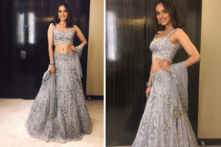 Manushi Chhillar in Gray Dress