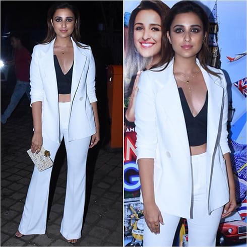 Parineeti Chopra white pantsuit style