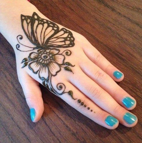 Butterfly Back Hand Mehndi Fashion