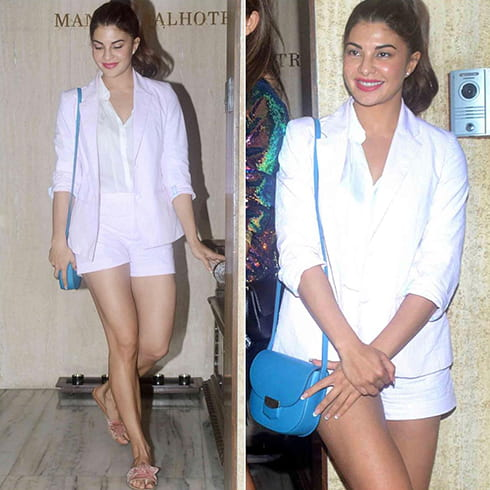 Jacqueline Fernandez in Blazer and Shorts