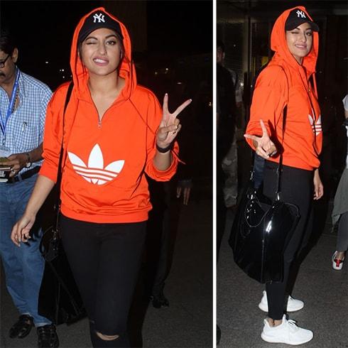 Sonakshi Sinha in Adidas hoodie
