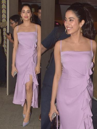 Janhvi Kapoor in a lavender dress