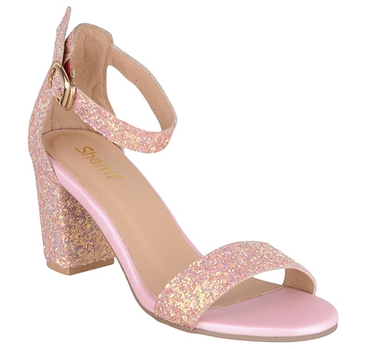 Pink Faux Leather Ankle Strap Sandals
