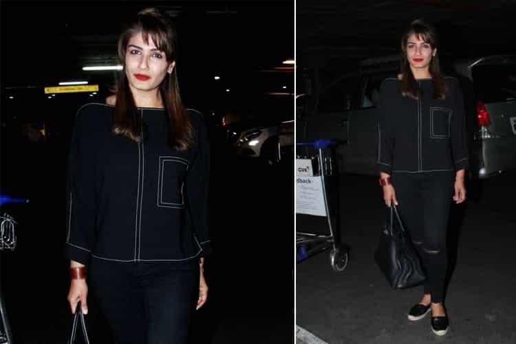 Raveena Tandon airport fashion