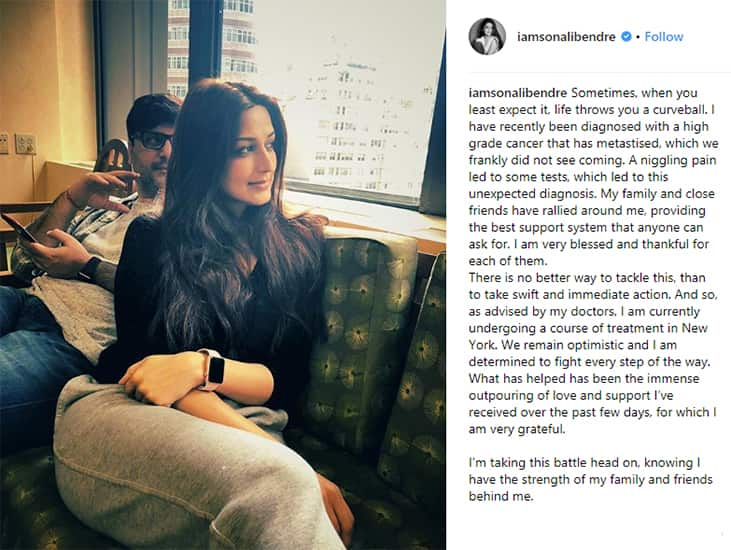 Sonali Bendre about her Cancer on Instagram