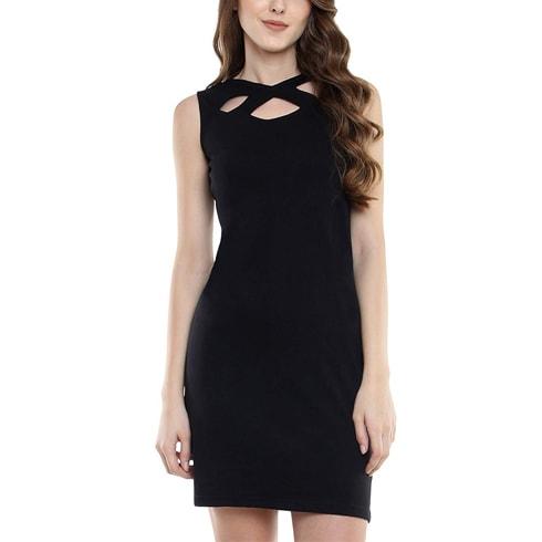 Black Criss Cross Neck Mini Dress