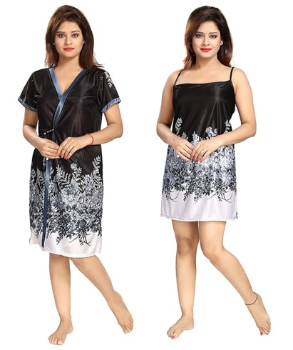 Black Printed Short Nighty With Robe