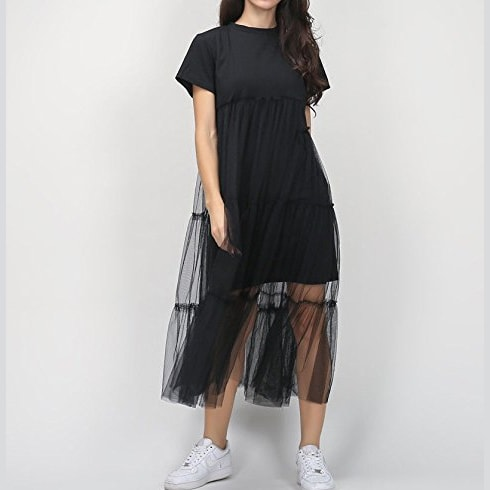 Black Tee-Shirt Dress Maxi