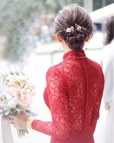 Bun with Floral Pin