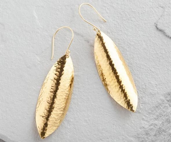 Curved Leaf Dangle Earrings