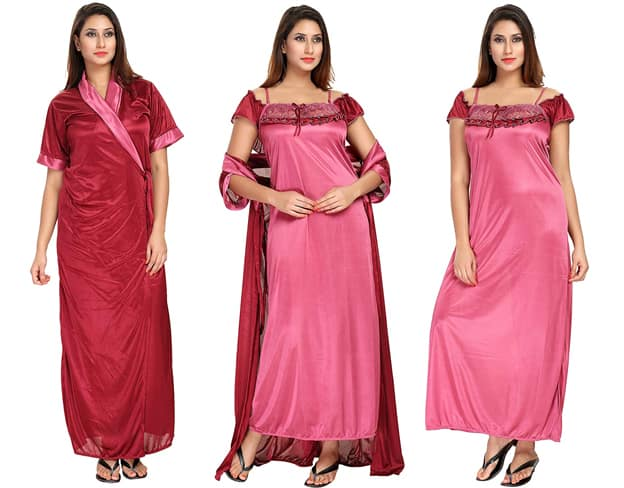 Maroon Lace Nighty With Robe