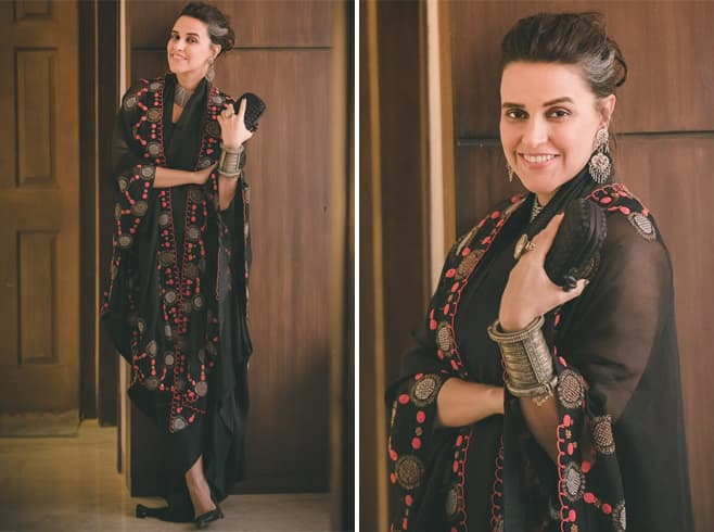 Neha Dhupia in Anamika Khanna Dress
