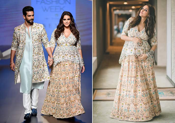 Neha Dhupia Walks with Baby Bump