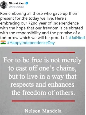 Nimrat kaur Independence Day Wishes