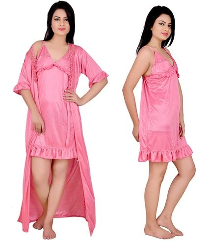 Pink Nighty With Robe
