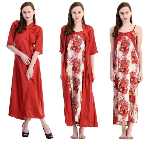 Red Printed Nighty With Robe