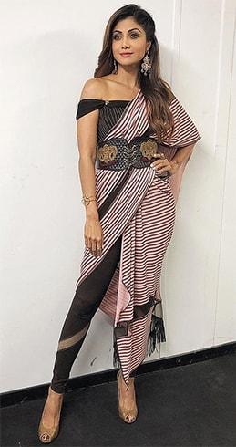 Shilpa Shetty indo-western sari