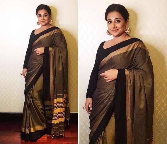 Vidya Balan in Pondicherry handloom saree