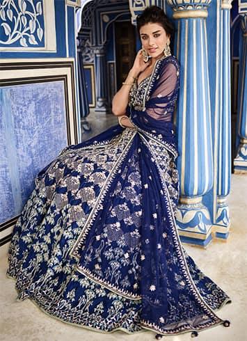 Anita Dongre Royal Blue Lehenga