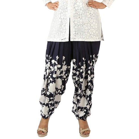 Blue And White Crepe Floral Printed Salwar