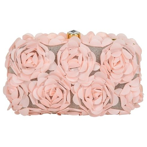 Blush Pink Rose Overload Box Clutch