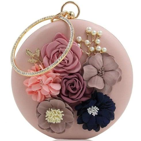 Circular Rosegold Clutch