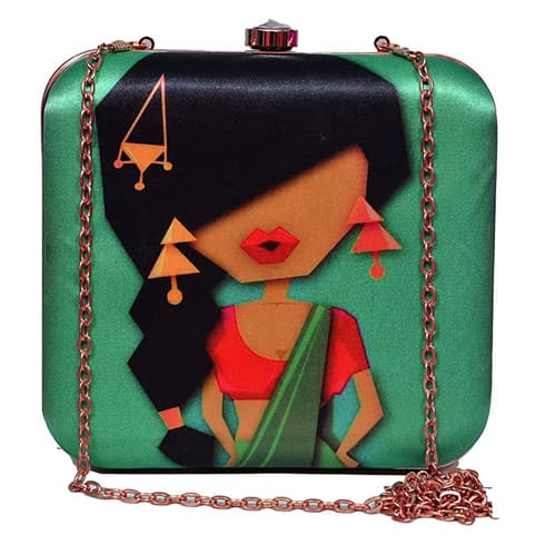 Cool Saree Diva Green Clutch