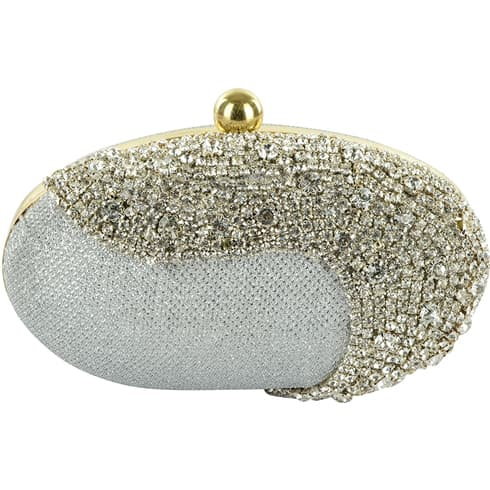 Grey Crystal Studded Egg Box Clutch