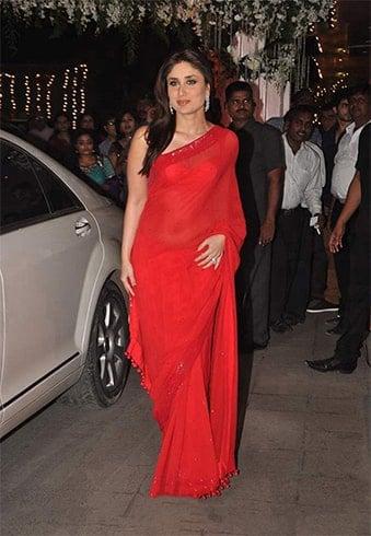 Kareena in Malhotra Red Sarees