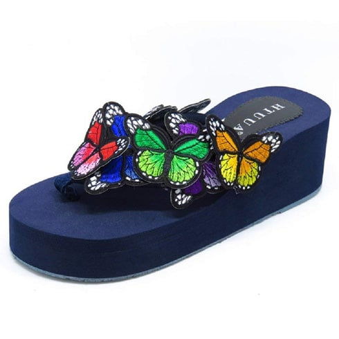 Multi-color Butterfly Flip Flops