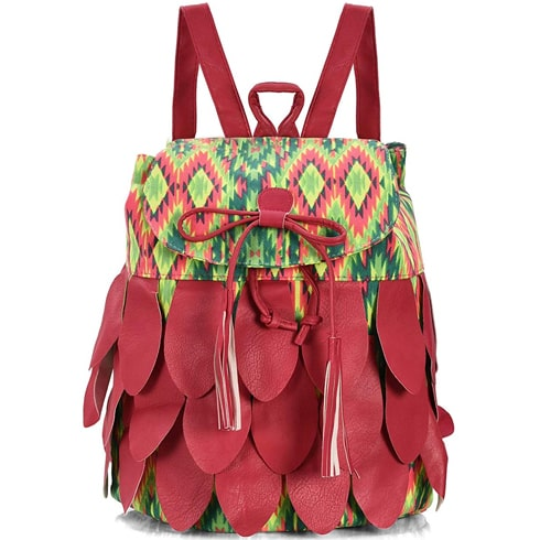 Multi-color Leather Canvas Backpack