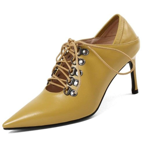 Mustard Pointed Toe Pumps With Lace