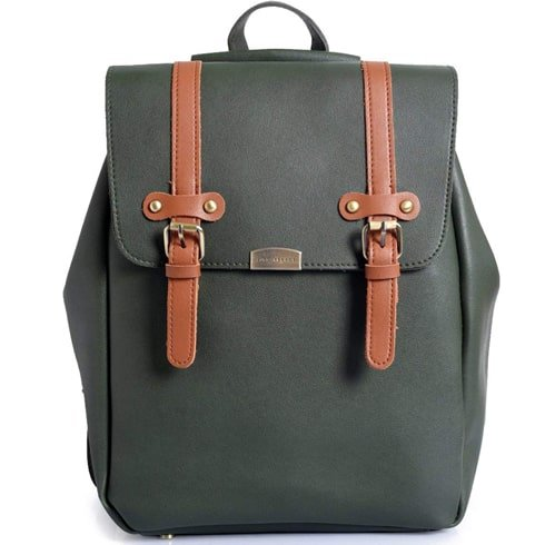 Olive Leatherette Backpack